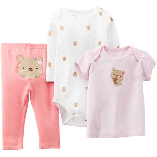Infant Toddler Girls Pink Teddy Bear Bodysuits & Bear Leggings 3-PC Outfit