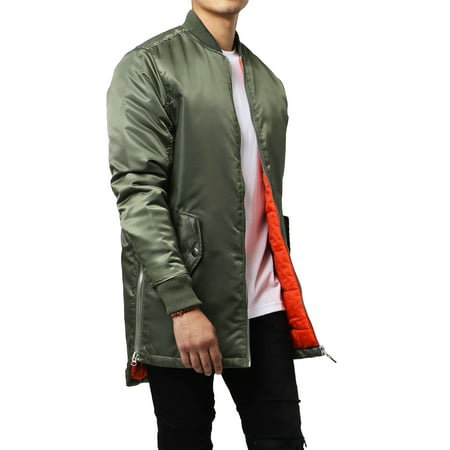 Mens Quilted Longline Bomber Jacket Hip Hop and -