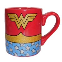 Wonder Woman Uniform Glitter Coffee Mug DC Superhero Costume 14 oz Ceramic