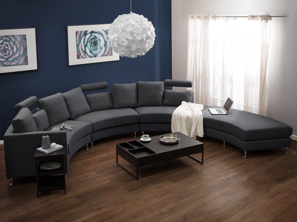 Beliani Curved Sectional Sofa Gray Fabric ROTUNDE by