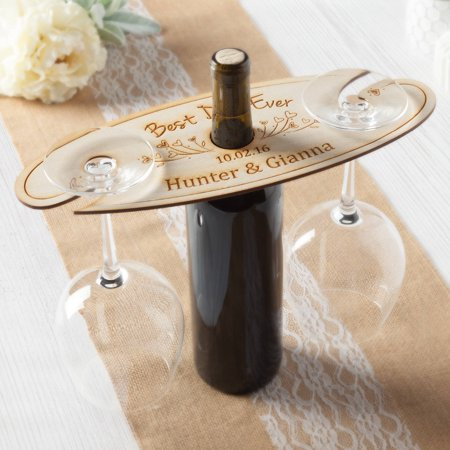 Best Day Ever Personalized Wood Wine and Glass