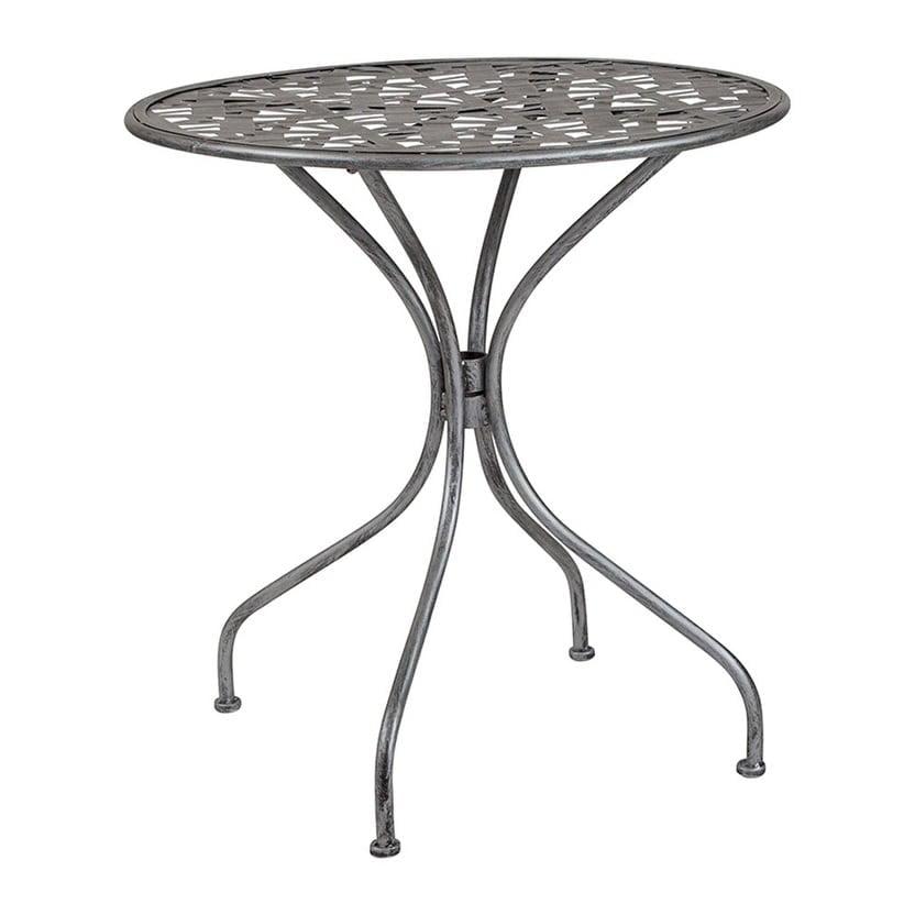 "Offex  27.5"" Round Contemporary Antique Silver Indoor Outdoor Steel Patio Table"