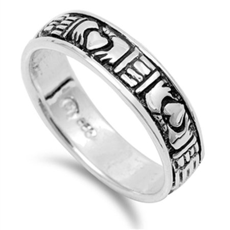 Oxidized Claddagh Heart Purity Wedding Ring ( Sizes 5 6 7 8 9 ) .925 Sterling Silver Band Rings by Sac Silver (Size 8)