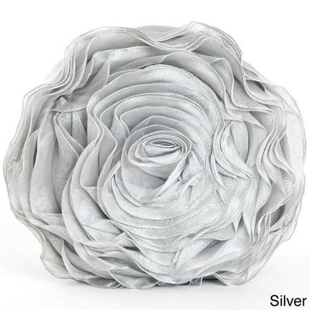 Saro Lifestyle Rose Design Throw - Silver Pillow