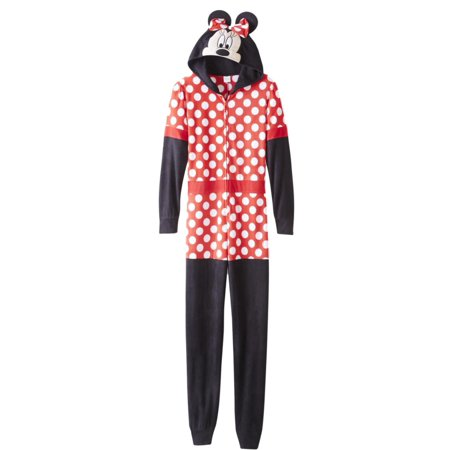 Moose Thermal (Disney Womens Minnie Mouse Union Suit Red Polka Dot Hooded Sleeper Pajamas)