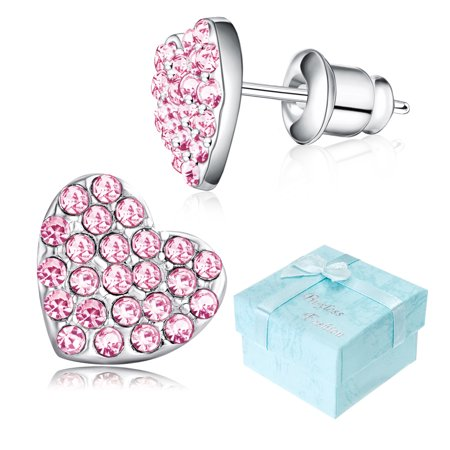 Stud Pouch - Buyless Fashion Girls Heart Stud Earrings With Push Backs Rhodium Plated