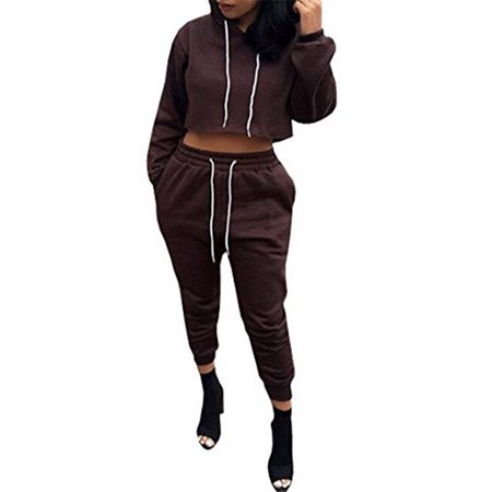 Hooded Sport Set Women Casual Solid Long Sleeve Hoodies Crop Tops & Elastic Waist (Cute Outfits With Black Leggings And Brown Boots)