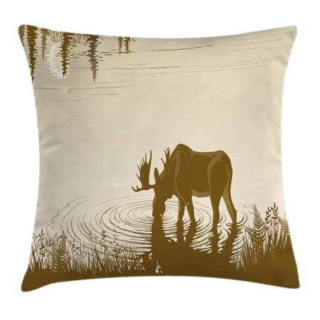 Animal Throw Pillow Cushion Cover, Silhouette of Elk Drinking Water in Lake River Forest Wildlife Scenery Illustration, Decorative Square Accent Pillow Case, 16 X 16 Inches, Cream Sepia, by Ambesonne ()