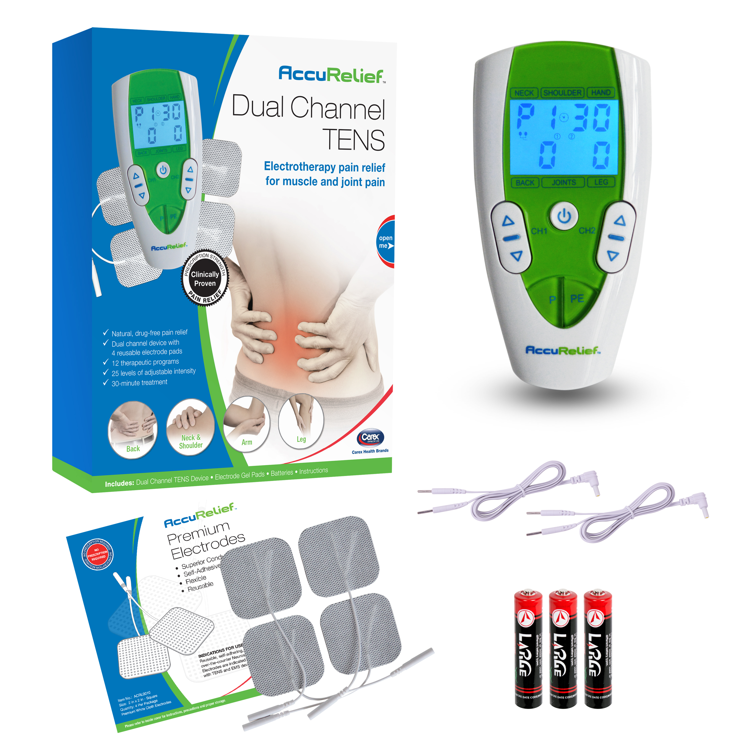 Image of AccuRelief Dual Channel TENS Therapy Electrotherapy Pain Relief System