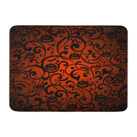 SIDONKU Orange Pattern Halloween Vintage Silhouette Bat Doormat Floor Rug Bath Mat 23.6x15.7 - Halloween Silhouette Patterns