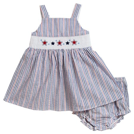 Good Lad Newborn/Infant Red,White, and Blue Smocked Seersucker Sundress with July 4th Embroidery and Matching Panty