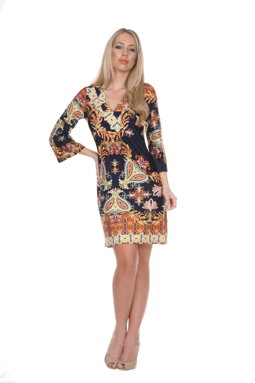 Women's Venetian Printed 3/4 Sleeve Dress