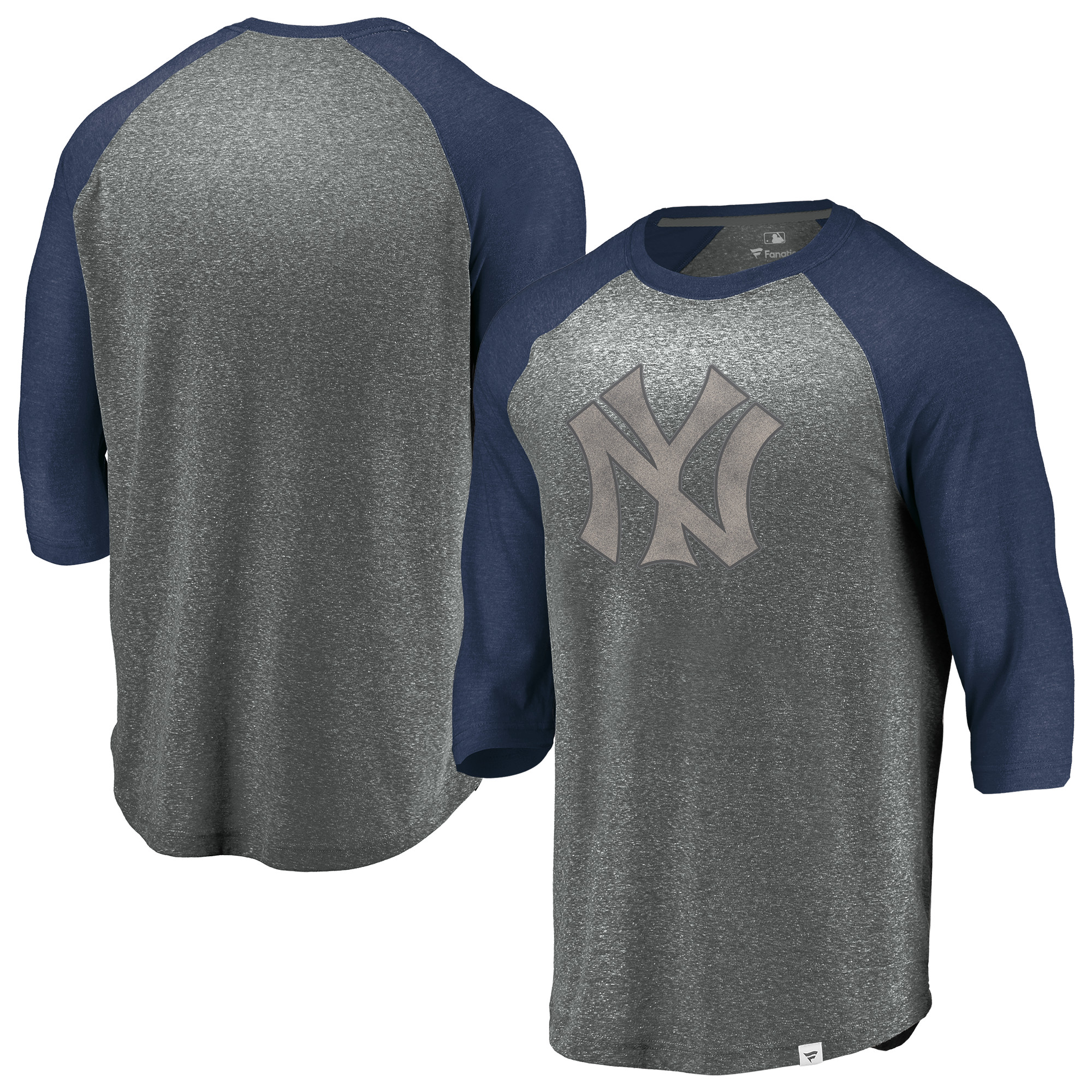 New York Yankees Fanatics Branded Cooperstown Collection Massive Devotees Tri-Blend Raglan 3/4-Sleeve T-Shirt - Heathered Gray/Navy