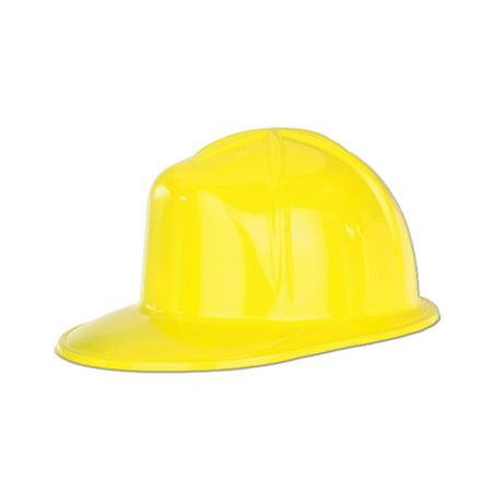 Club Pack of 48 Yellow Plastic Construction Helmet Costume Accessory
