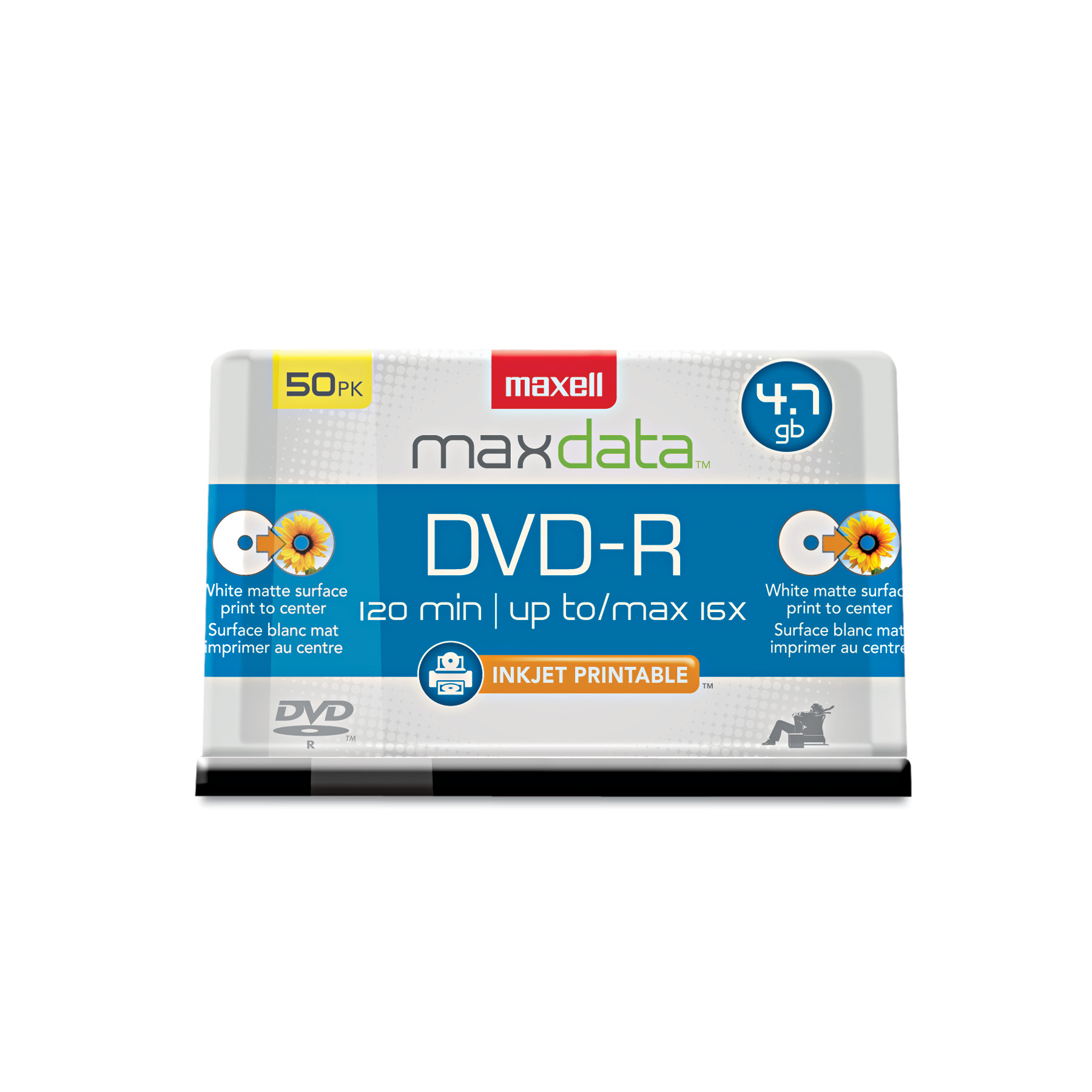 Maxell DVD-R Recordable Discs, Printable, 4.7GB, 16x, Spindle, White, 50 Pack by Maxell
