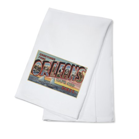 Greetings from Orleans, Cape Cod, Massachusetts (100% Cotton Kitchen Towel)