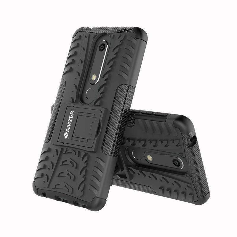 Nokia 6.1 Case, Slim Fit Dual Layer Protective Case with Kickstand for Nokia 6.1 - Black