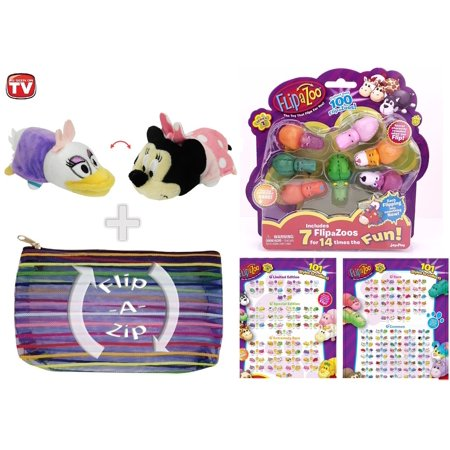 FlipaZoo - Flipzee Disney 5 Inch (Daisy Duck / Minnie Mouse) and 7 Pack Collectibles Combo Bundle w/ Exclusive Healthandoutdoors Flip-A-Zip - Minnie Daisy
