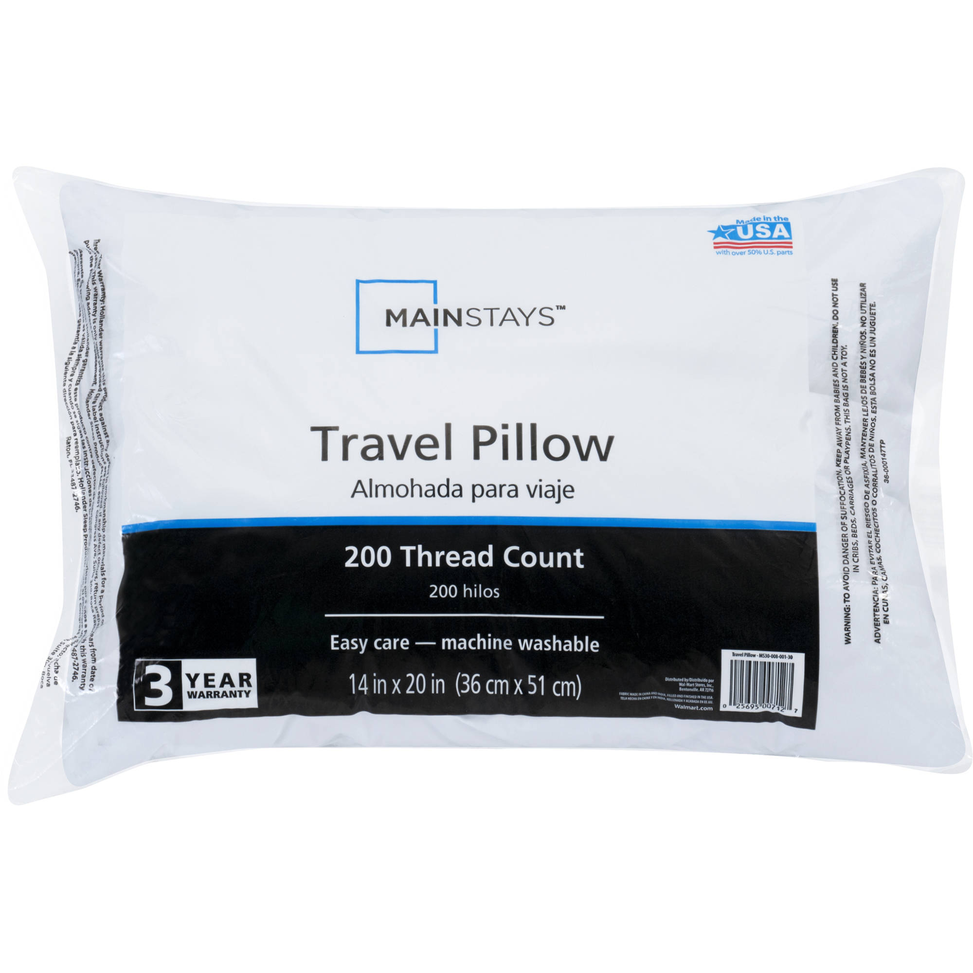 "Mainstays 100 Percent Polyester Travel Pillow 14"" x 20"" in White"