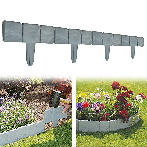 Set of 10 Garden Fence Cobbled Stone Effect Garden Lawn Edging Plant Border - Simply Hammer In