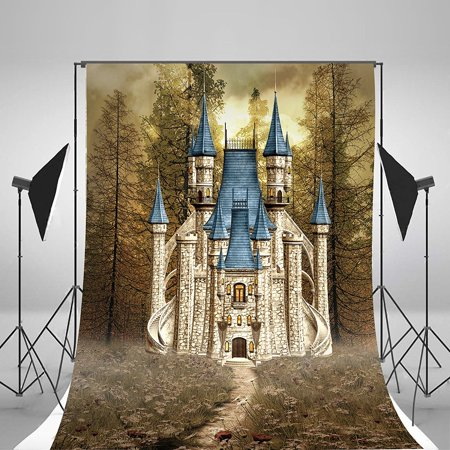 GreenDecor Polyster Castle Backdrops For Photography 5x7ft kids Photo Background Props Scenic Photographic Backdrops - Castle Props