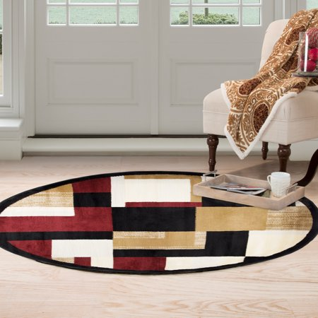 Round Area Rug 5 Foot Stain Resistant Circle With Contemporary Block Design By Somerset