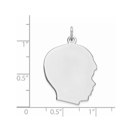 925 Sterling Silver Engraveable Boy Polished Front/Satin Back Disc (20x26mm) Pendant / Charm - image 1 de 2