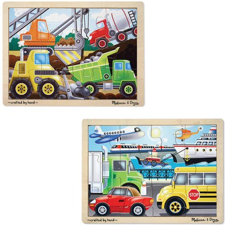 Melissa & Doug Wooden Jigsaw Puzzles Set, Vehicles and Construction, 24pc each