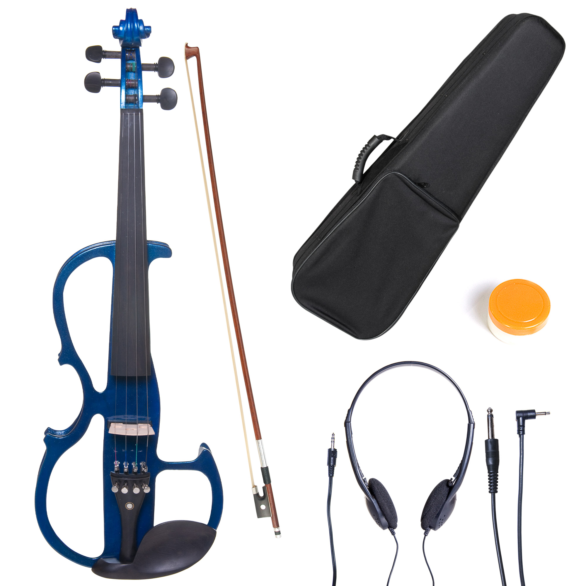 Cecilio Full Size Left-Handed Solid Wood Electric Silent Violin with Ebony Fittings-L4/4CEVN-L2BL Metallic Blue