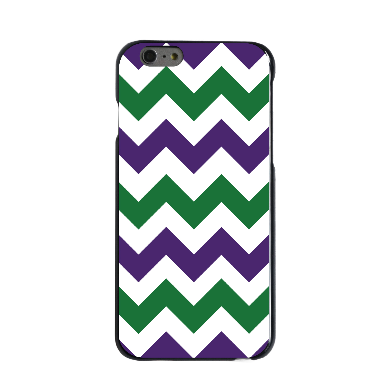 "CUSTOM Black Hard Plastic Snap-On Case for Apple iPhone 6 PLUS / 6S PLUS (5.5"" Screen) - Purple Green Chevron Stripes"