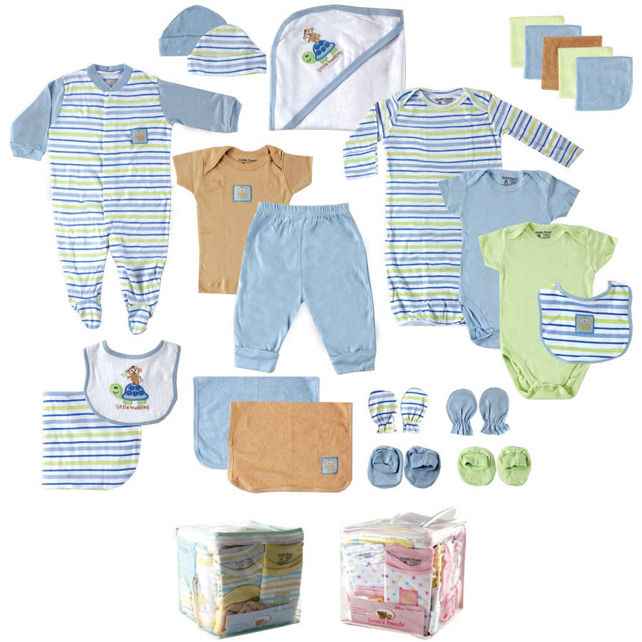 Luvable Friends Newborn Baby Boy Deluxe 24-Piece Gift Cube, Blue