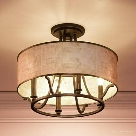 """Urban Ambiance Luxury Moroccan Indoor Semi-Flush Ceiling Light, Medium Size: 11.5""""H x 15.75""""W, with Craftsman Style Elements, Oil Rubbed Parisian Bronze Finish and Pen Shell Mosaic Shade, UQL2050"""