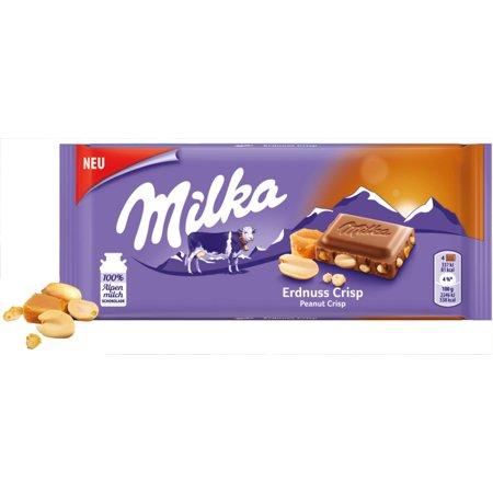 Milka Peanut Crisp Chocolate Bar Candy Original German Chocolate (Germany Candy)