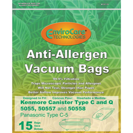 15 Kenmore 50558 5055 50557 Allergen Filtration Canister Vacuum Bags