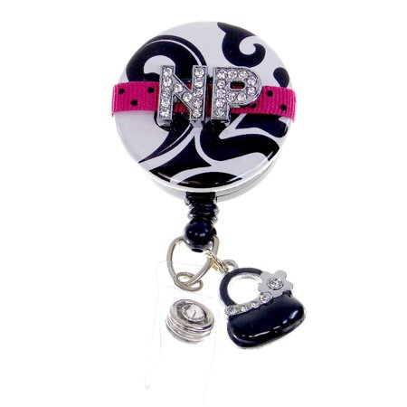 Badge Blooms ID Badge Reel - Bling - Nurse Practitioner Hot Pink with - Nurse Purse