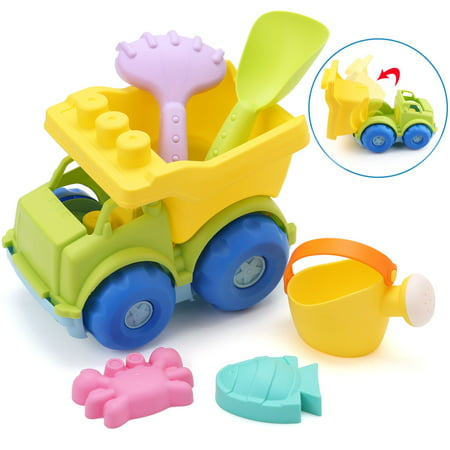 Beach Sand Toys Dump Truck Toy for Kids Toddler Baby - Soft Plastic Play Vehicle, Watering Can, Shovel, Rake, BPA Free, 9 Inches](Plastic Toy)