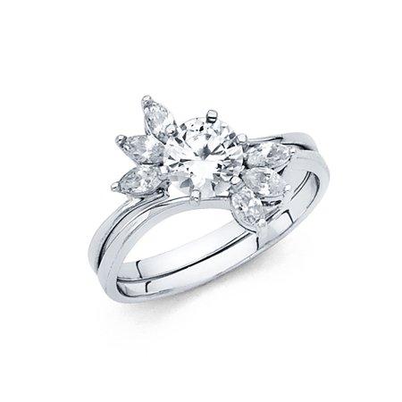 6e411e954bc31 Round CZ Engagement Ring & Wedding Band 14k White Gold Bridal CZ Ring Set  Marquise Side Stones