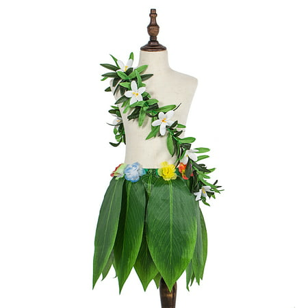 Hawaiian Simulate Tropical Leaves Skirt & Wreath Green Garland Dancing Props Decoration Beach Party Supplies 2PCS/Set - Hawaiian Decorations Cheap