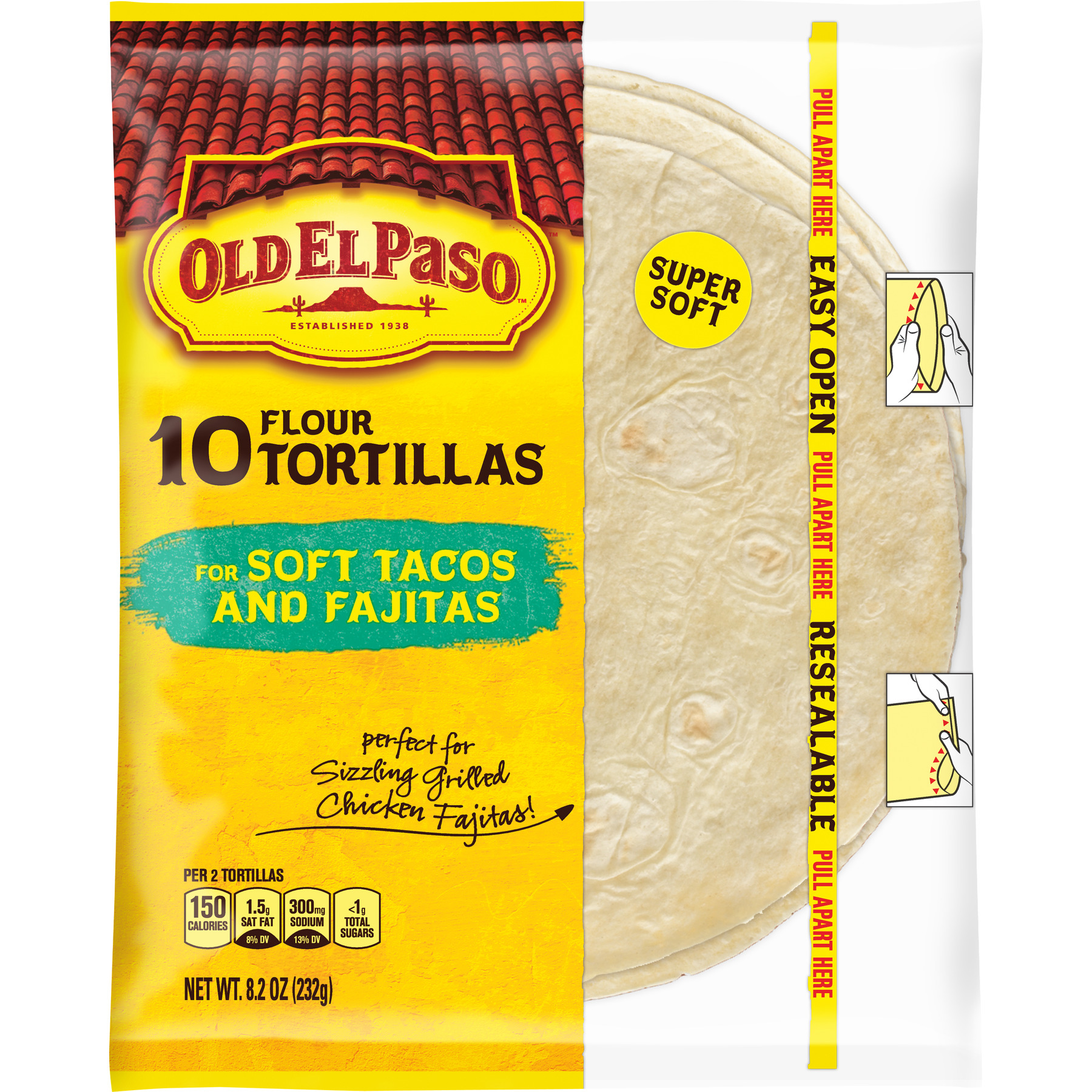 Old El Paso Flour Tortilla Shells, 10 Ct, 8.2 oz