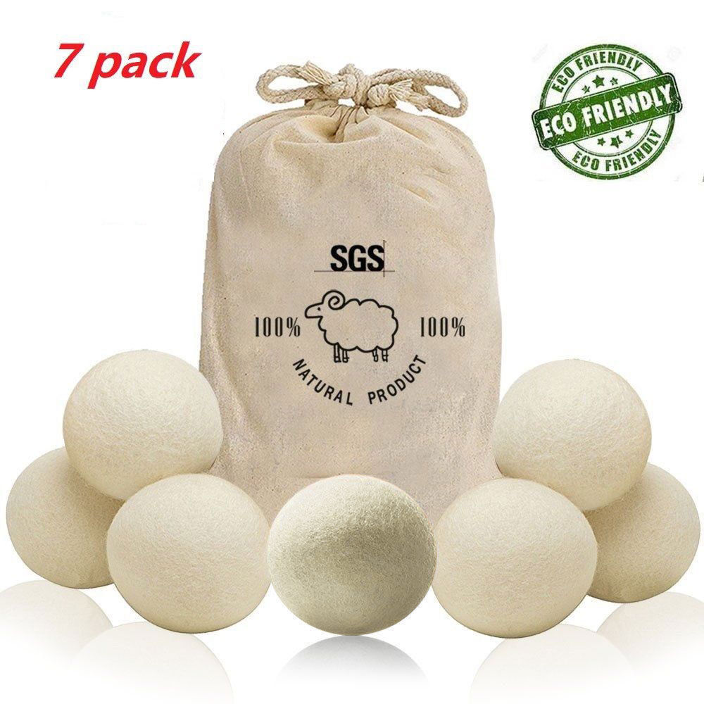 Wool Dryer Balls Laundry Clean Balls Awakelion 7-Pack 100% Handmade Organic Reusable Natural Fabric Softener