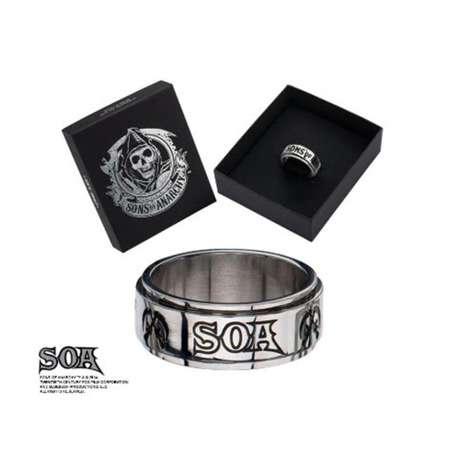 Sons of Anarchy SOAFRSSA-9 SOA Spinner Stainless Steel Ring - 9 in.
