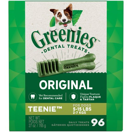 Greenies Original Teenie Natural Dental Dog Treats, Teenie, 27 oz. Pack (96 Count)