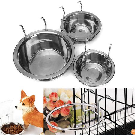 Stainless Steel Hanging Bowl Feeding Bowl Pet Bird Dog Food Water Cage Cup - image 12 de 12