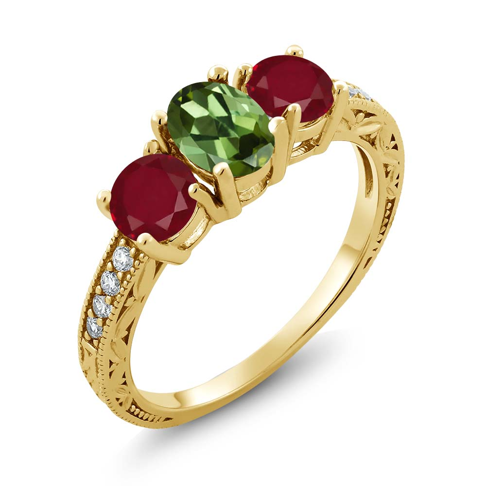 1.92 Ct Oval Green Tourmaline Red Ruby 14K Yellow Gold Ring by