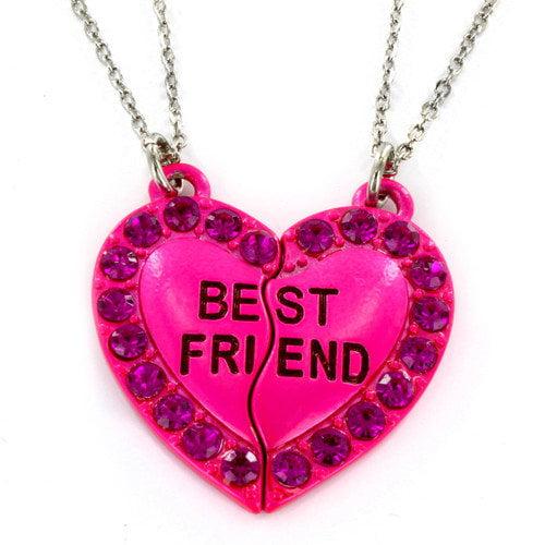 West Coast Jewelry Resin Best Friend Heart 2 Piece Necklace Set