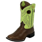 Tony Lama Western Boots Boys 3R Leather Square Toe Beige Mustang LL507