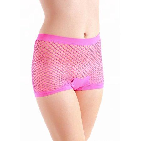 Yelete Ladies Stretchy Fishnet Boy Shorts  Hot Pink Seamless Fishnet Boy Shorts