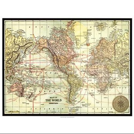 World Map with black border Poster Print by Vision studio (25 x 19)