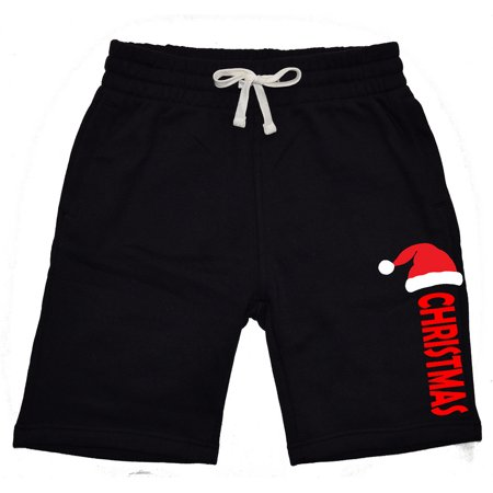 Men's Santa Hat Christmas V615 Black Fleece Jogger Sweatpant Gym Shorts 2X-Large Black Fleece T-shirt Sweatpants