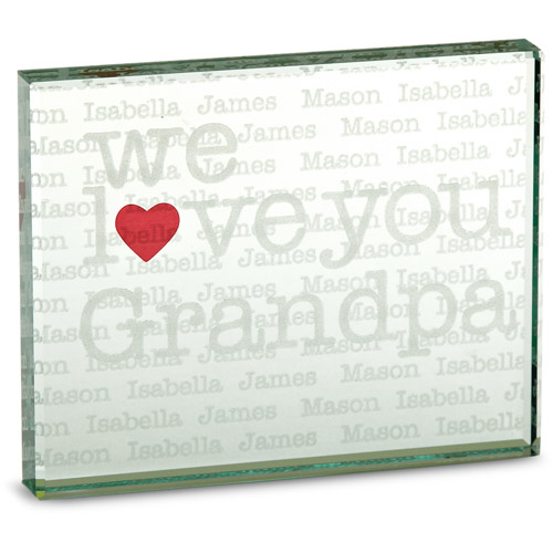 """Personalized """"We Heart"""" 2-Sided Glass Block"""